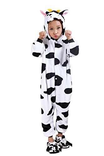 Engeryplay Unisex Animal Onesie Halloween Costumes Pajamas Cosplay Parent-Children Outfits Cow (Parents And Kids Halloween)