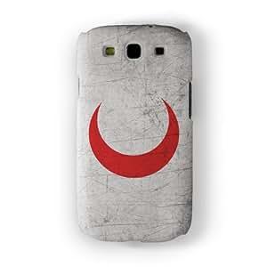 Old Grunge Metal Flag of Red Crescent Funda Completa de Alta Calidad con Impresión 3D, Snap-On, Diseño Negro Formato Duro parar Samsung® Galaxy S3 de UltraFlags