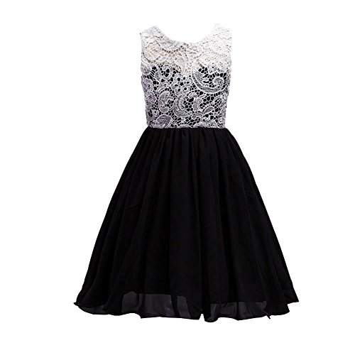 LPATTERN Little/Big Girl's Ruched Sleeveles Lace Short Tulle Flower Dress Bridesmaid Wedding Prom Party Dresses Evening Gowns Black by LPATTERN