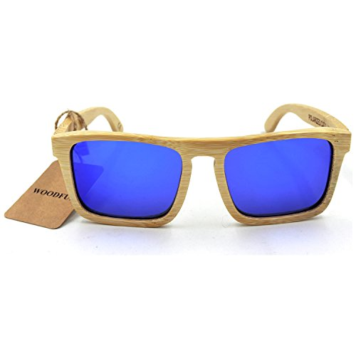 Bamboo Sunglasses - 100% Hand Made Wooden Sun Glasses,Men Women Sunglasses - Wood Eyewear (bamboo color, - Bamboo Glasses Sun
