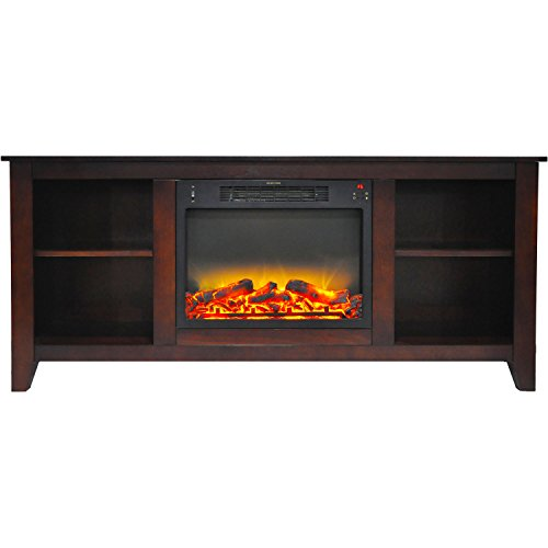 Cambridge CAM6226-1MAHLG2 Santa Monica 63 In. Electric Fireplace & Entertainment Stand in Mahogany with Enhanced Log Display