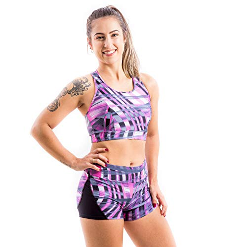Top Cropped Lana Íon Fitness Em Trilobal Estampado Rosa