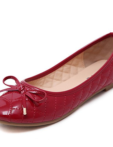 PDX/ Damenschuhe - Ballerinas - Kleid / Lässig - Kunstleder - Flacher Absatz - Komfort / Quadratische Zehe / Geschlossene Zehe -Schwarz / Rot , red-us8.5 / eu39 / uk6.5 / cn40 , red-us8.5 / eu39 / uk6