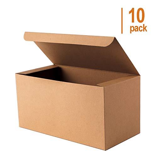 Giftol Kraft Gift Box 10 Pack 9 x 4.5 x 4.5 Inches Fold Box Paper Gift Box Bridesmaids Proposal Box for Bridal Birthday Party Christmas
