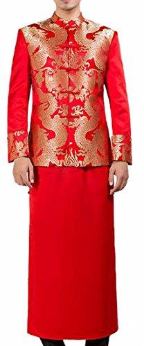 Ptyhk RG Chinens Groom Costume Groom Wedding Dress Mandarin jacket&Imperial Robe Tang Costume Red -