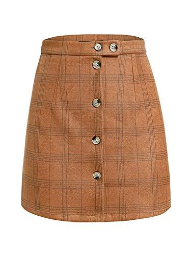 BerryGo Women's Casual High Waist Plaid Button A-Line Pencil Mini Skirt Brown,M