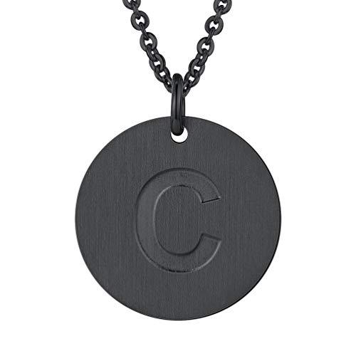 (PROSTEEL Initial Letter Necklaces Monogram Alphabet C Minimalist Bridesmaid Personalized Jewelry Friendship Gift Black Coin Men Women Necklace)