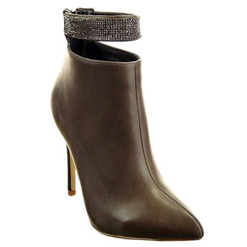 Sopily - Zapatillas de Moda Botines Stiletto Low boots Tobillo mujer strass Talón Tacón de aguja alto 11 CM - plantilla sintética - forradas en piel - Marrón