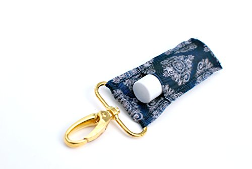 The LippyClip Lip Balm Holder for Chapstick, Blistex, etc. (Navy Damask) by Gabriel's Good Tidings®