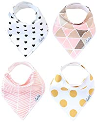 Baby Bandana Drool Bibs for Girl Blush 4 Pack of Absorbent Cotton Bibs Modern Baby Gift Set By Copper Pearl from Copper Pearl