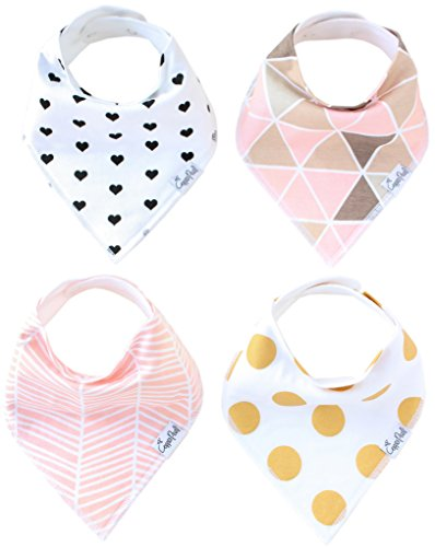 "Baby Bandana Drool Bibs for Drooling and Teething 4 Pack Gift Set For Girls ""Blush Set"" by Copper Pearl"
