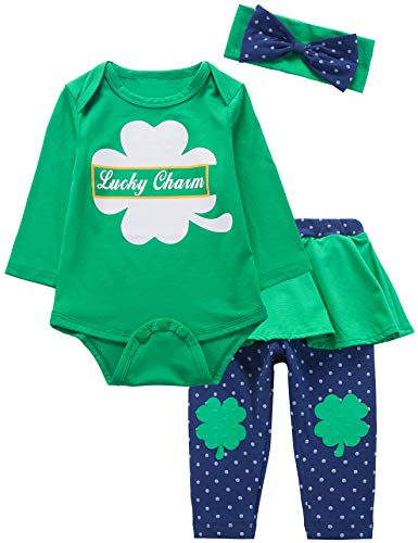Baby Girls St Patrick's Day Outfit Set Clover Top Stripe Pants with Headband (3-6 Months) -