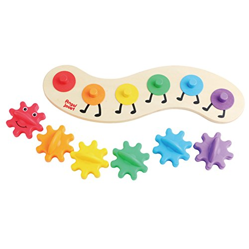 Geometric Stacker Toy (CC-US Baby Kids Rainbow Gear Caterpillar Toy Wooden Puzzle Twisting Educational DIY Toy with 6 Interchangeable Gears)