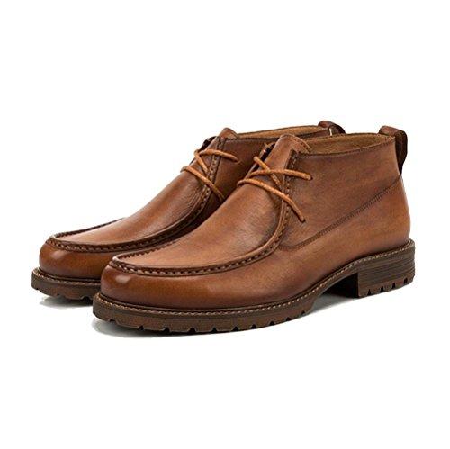 LYZGF Hommes Jeunes Casual Mode Chaussures en Cuir Bottes en Cuir à Lacets D'âge Moyen en Plein Air Brown