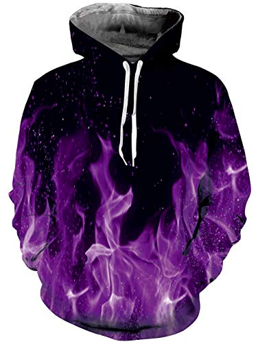 Loveternal Black Purple Flame Pullover Hoodie with Kangaroo Pocket Casual Sweatshirts for Women Men M