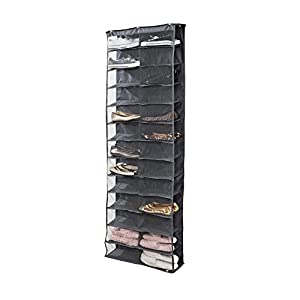 Clear PVC Over-the-door 26-pocket Shoe Organizer,Tune Up Washable Oxford Shoe Rack, Hanging Shoe Storage Bag (Dark Grey)