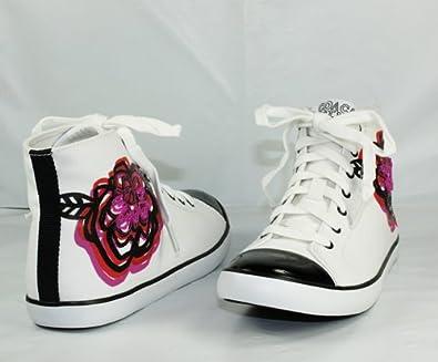 5375d045a9279d Coach Elektra Black White Multi Flower Embellished Sneaker Women s Size 8.5  ...