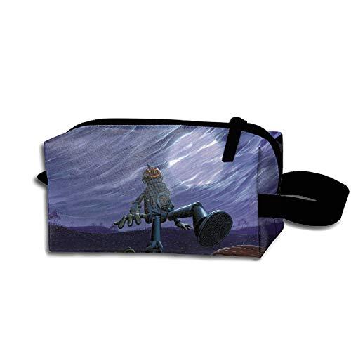 (Halloween Pumpkin Robot Cosmetic Case Portable Artist Storage Bag Toiletry Jewelry)