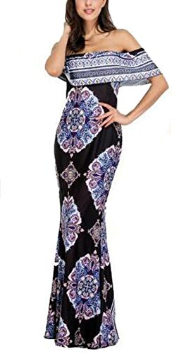 Hawain Outfit (Suimiki Vintage Ruffle Plain Floral Printed Off Shoulder Bodycon Long Party Maxi Dress Black A Large)