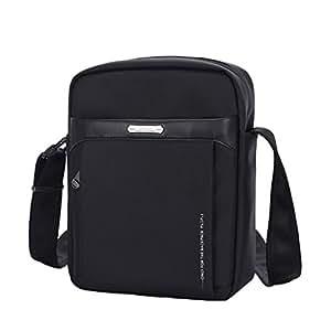XSY Men Crossbody Messenger Women Anti-Theft Zipper & Buckle Sling Shoulder Bag 01-Black