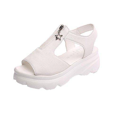Peep Beige Freizeitschuhe Toe A Style Sommermode Plateau für Sandalen Damen Kingko® nwx0H78Xqf