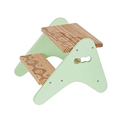 B. spaces by Battat - Peek-A-Boost - Wooden Two-Step Stool - Mint & Wood