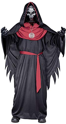 Boys Dark Sorcerer Wizard Warlock Demented Skeleton Lord Halloween Horror Fancy Dress Costume Outfit 7-12 Years (7-9 years) -