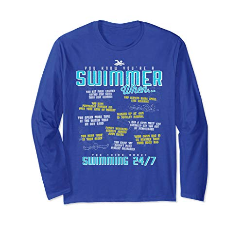 (Unisex You Know You're A Swimmer When Funny Long Sleeve LS T Shirt Medium Royal Blue)