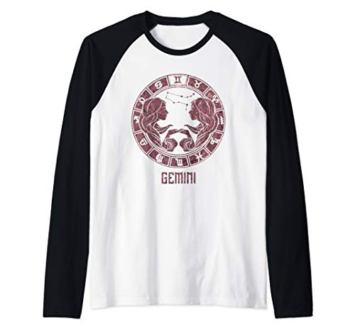 Gemini Zodiac Sign Symbol Stars May June Birthday Gift Raglan Baseball ()