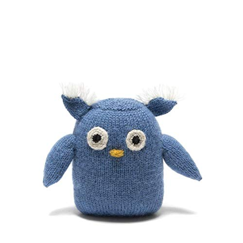 Adorable Owl Plush Toy, Handmade Fair Trade Stuffed Animal Knit with Alpaca Wool