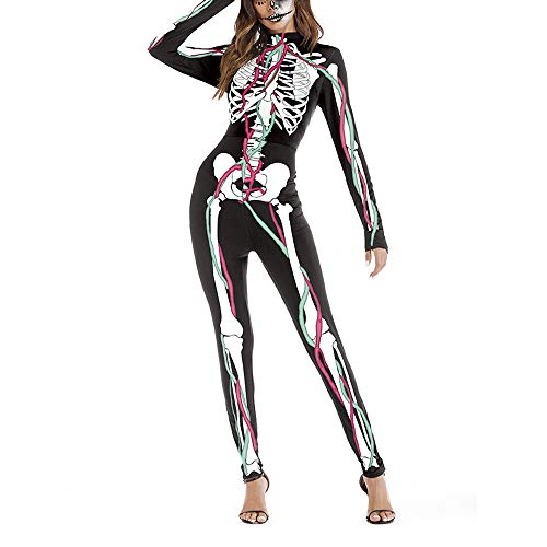 (JIKF-shirt Womens Jumpsuit Halloween Cosplay 3D Print Costume One-Piece Bodysuit A1)