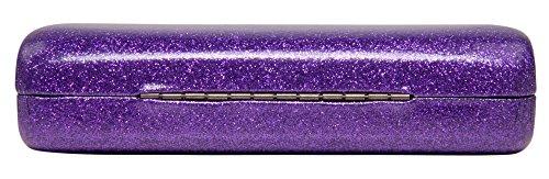 Mystic Purple Medium Premium Fashion Women's Hard Eyeglasses Case By Spunky Soul   Glitter Purple   Bonus Cleaning Cloth