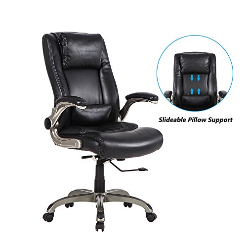 (LCH High Back Executive Office Chair with Flip-up Arms, Slideable Headrest Lumbar Support, Ergonomic Leather Computer Desk Chair Adjustable Height 360 Degree Swivel)