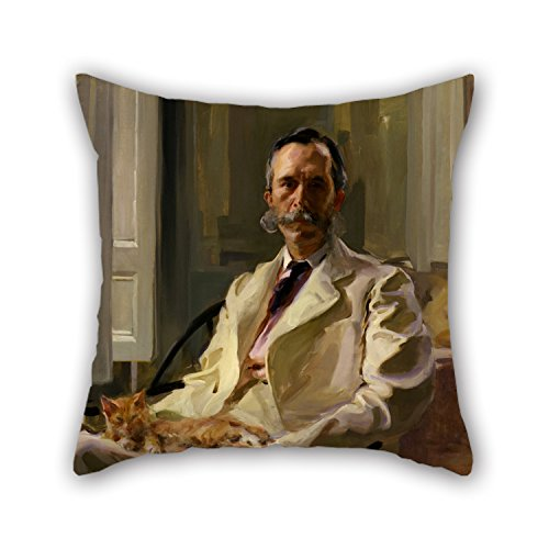 TonyLegner 20 X 20 Inches / 50 by 50 cm Oil Painting Cecilia Beaux - Man with The Cat (Henry Sturgis Drinker) Pillow Shams Both Sides is Fit for Birthday Indoor Saloon Bench Lover Gril Friend ()