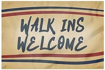 Walk Ins Welcome Nostalgia Stripes Wind-Resistant Outdoor Mesh Vinyl Banner 12x8 CGSignLab
