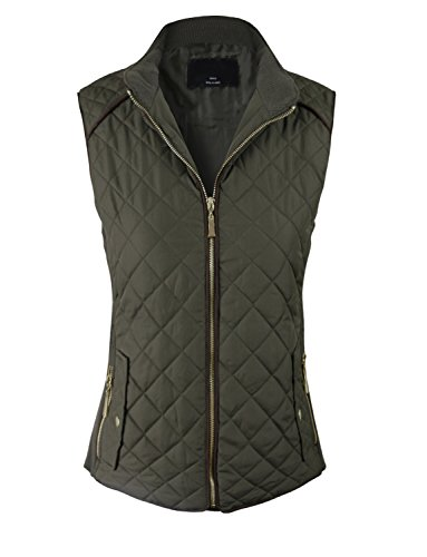 makeitmint Women's Basic Solid Quilted Padding Jacket Vest w/ Pockets Small YJV0002_Olive ()