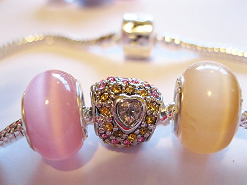 Charm Love Wife Mother Mom Heart Crystal CZ Pave European Bead Fits Pandora Bracelet