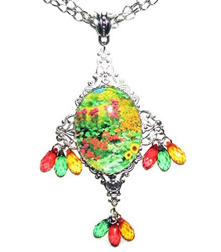 ENGLISH COTTAGE GARDEN Necklace SILVER Pltd with Red Green Yellow Dangle Drops Spring FLOWER PATH Illustration Altered (English Garden Medallions)