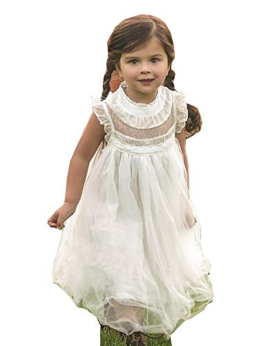 Just Couture Little Girls White Lace Tulle Smock T-Length Magnolia Flower Girl Dress 6 from Just Couture