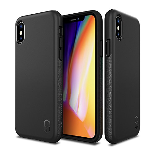 PATCHWORKS Level ITG Case in Black Compatible for iPhone X/XS One Piece TPU PC Hybrid Dual Material Matte Finish Side Grip with Added Air Pocket and Drop Tested Hard Cas