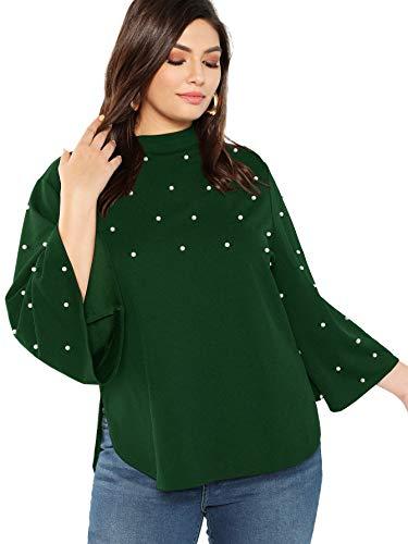Romwe Women's Plus Size Pearls Beaded Mock Neck Long Sleeve Blouse Top Green ()