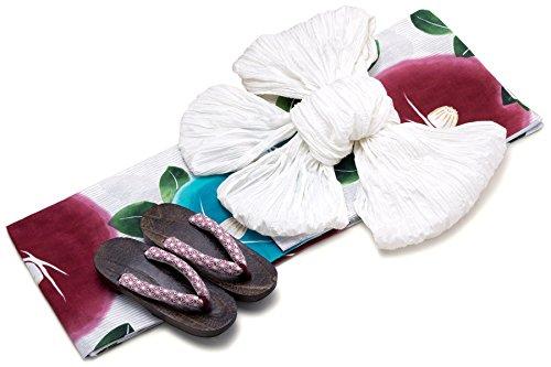 滑り台商業の鋭くレディース浴衣セット[浴衣/兵児帯] bonheur saisons 白系 ホワイト 赤 青 椿 つばき 花 縞 綿麻 手捺染 手縫い 浴衣セット 女性 フリーサイズ