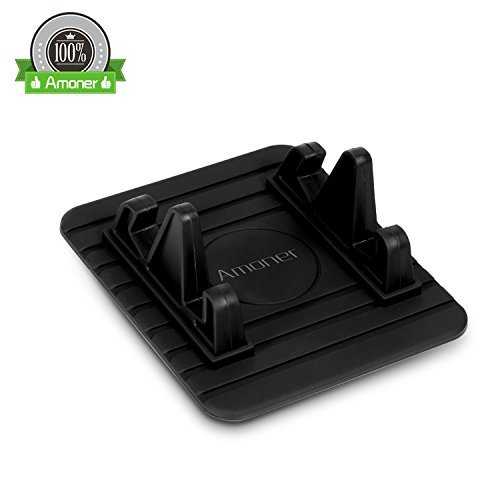 Amoner Car Mount Holder, Anti-Slip Car Silicone Pad Dash Mat Cell Phone Holder Cradle Dock for iPhone 8/7/7plus, Samsung Galaxy, GPS and More (Black)