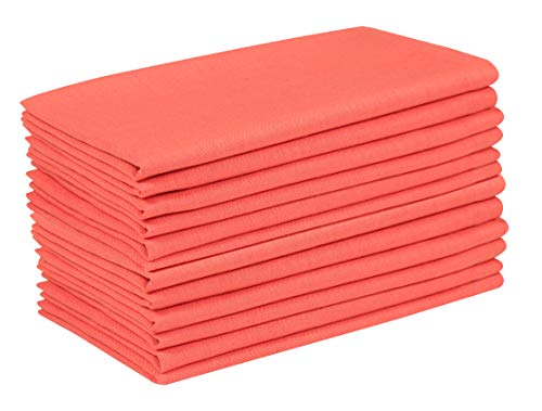 Cotton Flax Fabric Dinner Napkins (Set of 12, 19x19 inches) Tailored with Mitered Corners and a Generous Hem, Cotton Napkin, Soft and Comfortable, Ideal for Events and Regular Home Use, Coral (Polyester Coral Napkins)