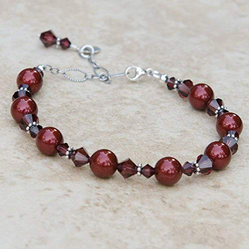 Burgundy Beaded Bracelet with Crystals by Swarovski and Bali Style Sterling Silver Adjustable Chain