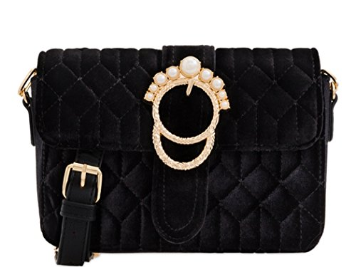 Cross Velvet Shoulder Body Fashion 186 Black Handbag Women's Diamante Bags LeahWard wOqaWTI4xK