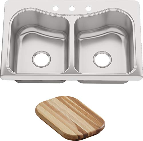 KOHLER K-3369-3-NA Staccato Double-Basin Self-Rimming Kitchen Sink, Stainless Steel ()