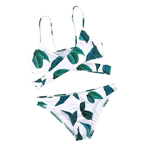 - 41C 2BYmXXi L - CUPSHE Women's Fresh Leaves Printing Cross Padding Bikini Set