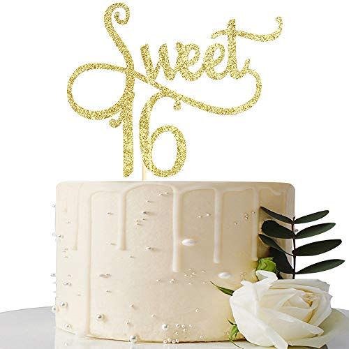 MaiCaiffe Gold Glitter Sweet 16 Cake Topper -16th Birthday Cake Topper - Sweet Sixteen Party Themes Decoration Supplies