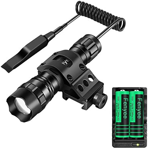 Fenyee Tactical Flashlight Adjustable 350 Yards 1200 Lumen Matte Black LED Weapon Light Offset Mount, Rechargeable Batteries and Pressure Switch Included